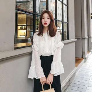 White Top chiffon blouse ruffles pretty stylish lolita doll style #ramadan50