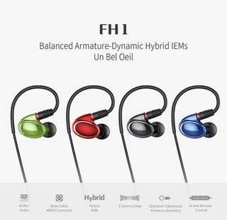 100%全新Fiio FH1最新款兩單元可換線MMCX有線耳機
