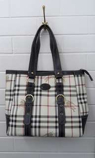 Vintage Burberry London Plaid Tartan Handbag Shoulder Bag!