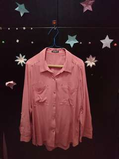 Baju wanita kemeja details pink XL