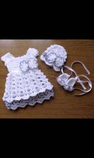 Crochet baby girls dress set