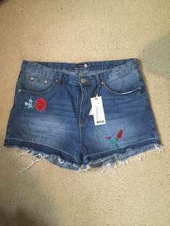 Rose Embroidered Denim Shorts