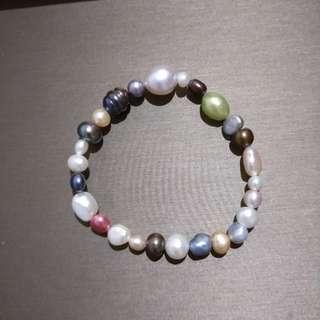 天然淡水珍珠混色手鏈 (顏色獨一無二)1號