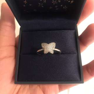 Pandora butterfly pave ring
