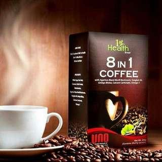 8 in 1 Coffee with Agaricus Blazei Murill Mushroom, Yongkat Ali, Hinkgo Biloba, Calcium Carbonate, Omega 3