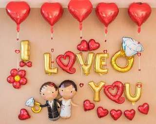 I Love You 示愛/結婚/求婚汽球佈置套裝 (I Love U Balloon Decoration Package)