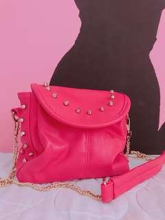 Pink Studded S-size Sling Bag