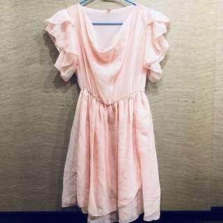 🚚 粉嫩雪紡洋裝