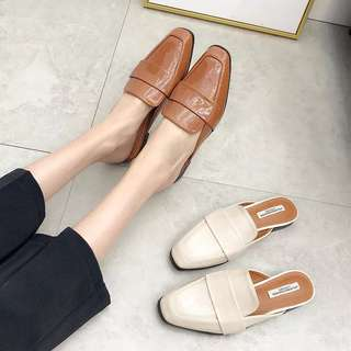 🚚 預購®️2018春夏時尚素色純色包頭半拖鞋 方頭鞋 英倫風