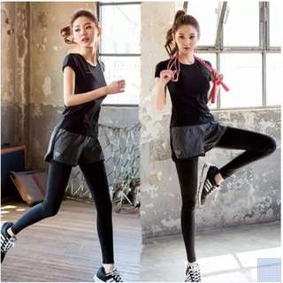 Korean style two-piece sports running / fitness / Yoga quick dry pants