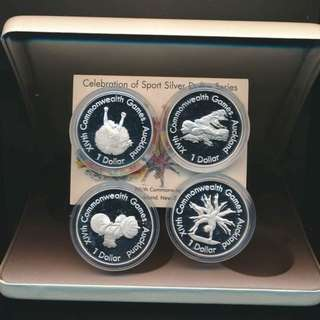 NEW ZEALAND 1989 4 COIN CELEBRATION OF SPORT SILVER PROOF $1 SET - complete