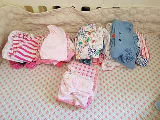 Bundle baby girl clothes 0-3 3-6 months plus swaddle blankets