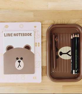LINE BROWN CONY PEN TRAY