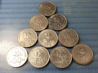 Malaysia 50 Sen Cupro-Nickel Coin ( Lot of 10 Pieces )