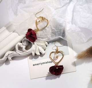 heart rose earrings