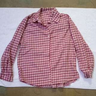 Red Checkered Longsleeves Top