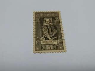 威廉 莎士比亞(William Shakespeare)郵票,美國1964年8月14日發行莎翁400週年生日紀念郵票1枚(發行量#1250)