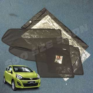[New] PERODUA AXIA Magnetic + Clip OEM Custom Fit UV Proof Sunshade (4pcs)