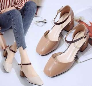 ulzzang neutral colour block heels