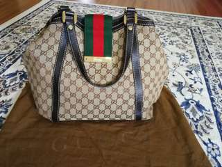 Gucci GG Monogram Canvas New Ladies Web Medium Tote