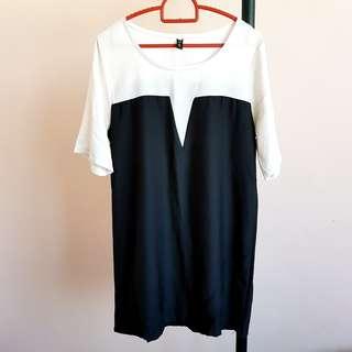 #20under Black and White Chiffon Dress