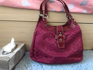 wine red handbag