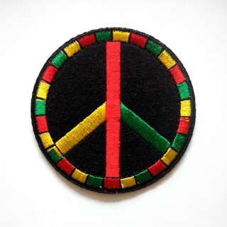 Rasta Reggae Hippie Hipster Peace Logo Iron On Patch