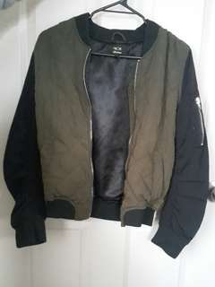 Khaki and black bomber jacket