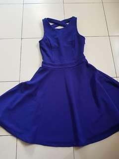 Electric Blue Sleeveless Textured Dress