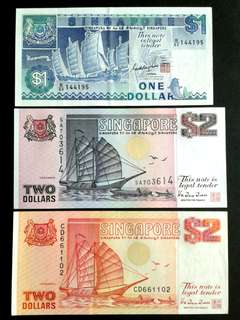 1987 Singapore Ships Series x3 Banknotes