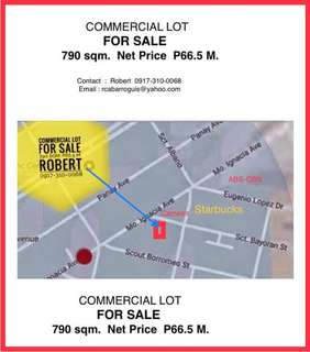 790 sqm Commercial LOT FOR SALE - P66.5 M - Sct Mother Ignacia, Quezon City