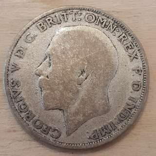 1921 Great Britain King George V Silver Florin Coin