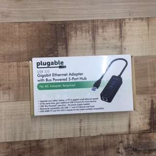 Plugable USB Ethernet RJ-45 Adapter with 3-USB Ports NEW