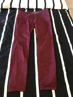 Maroon Cotton on mid-rise jeggings