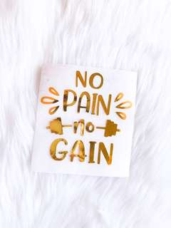 No Pain No Gain vinyl decals for water bottle