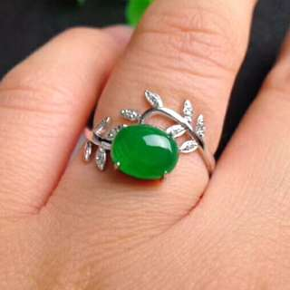 🎋18K White Gold - Grade A 冰糯 Green Cabochon Jadeite Jade Leaf Ring🍀