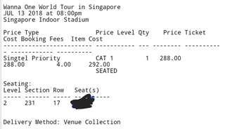 [ WTT Only ] Wanna One World Tour in SG