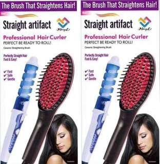 Straightening brush+hair curler