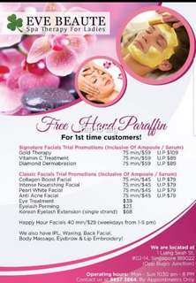 Facial treatments with Korean products. Inclusive of ampoule/serum (75 mins) FREE HAND PARAFFIN (U.P $79)