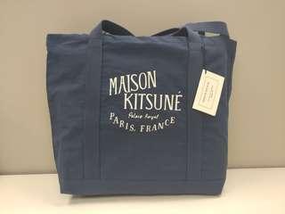法國Maison Kitsune 藍色棉質手提包