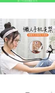 手機掛脖支架懶人床頭多功能脖子抖音直播桌面床上通用加長