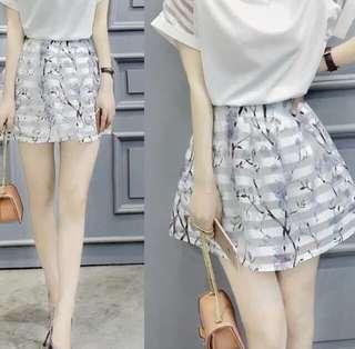 Korean Style Floral Mesh Skirt