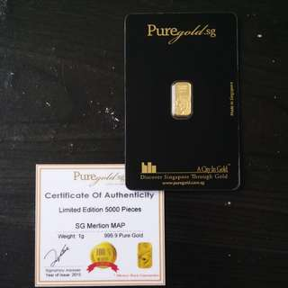 1g puregold SG merlion map gold bar