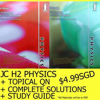 JC H2 / H1 PHYSICS TOPICAL QUESTIONS + SOLUTIONS + STUDY GUIDE PRELIM A LEVEL EXAM PREPARATION PACKAGE $4.99