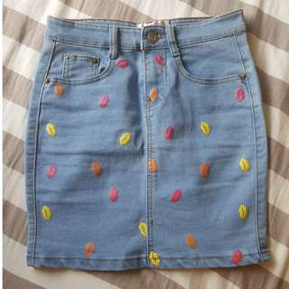 Denim Skirt with Pattern