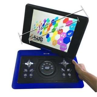 "Portable DVD Player 18.5"" Inch Frame, 14"" LCD Monitor, Built in speaker, USB Port, Memory Card Reader, Built in Games - HUG (Blue)"