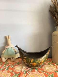 Vintage Kashmir paper mache brass bowl