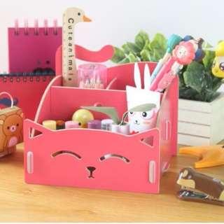 筆筒 木質化妝品收納盒 可愛貓咪筆筒 便簽盒