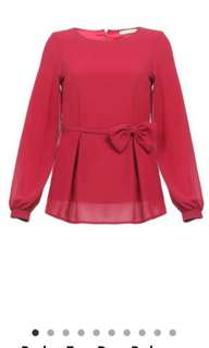 BNWT Poplook Hani Bow Ribbon Top Blouse in Deep Red