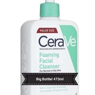 (Large size, 16Oz, 473ml) CeraVe Foaming Facial Cleanser